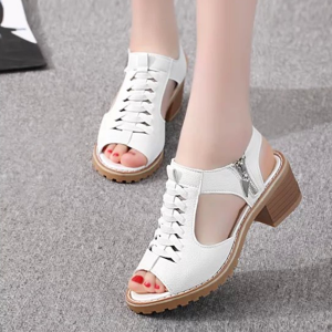 Cross Tie Zipper Closure Medium Heel Sandals - White