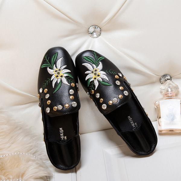 Flat Rhinestone Embroidery Black Flat Boho Shoes