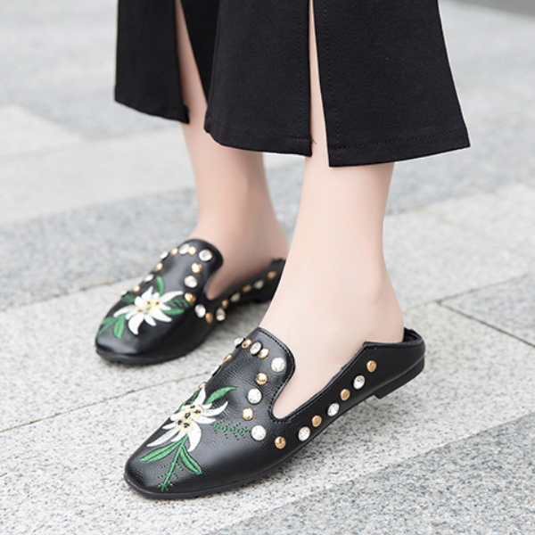 Flat Rhinestone Embroidery Black Flat Boho Shoes