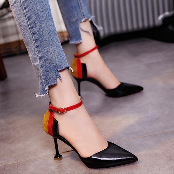 Buckle Closure Almond Toe Women Pencil Heels - Black