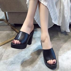 Summer Comfortable Fashion Big Heel Female Sandal - Black