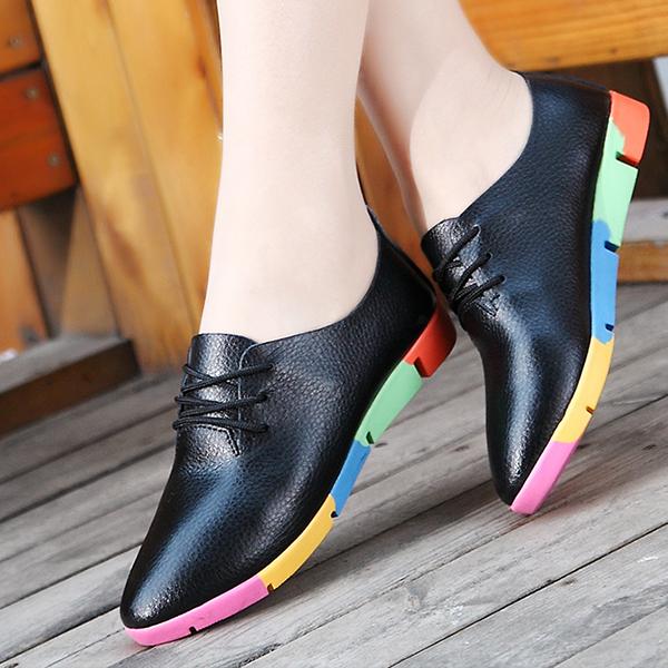 Multicolor Soft Bottom Black Leather Shoes