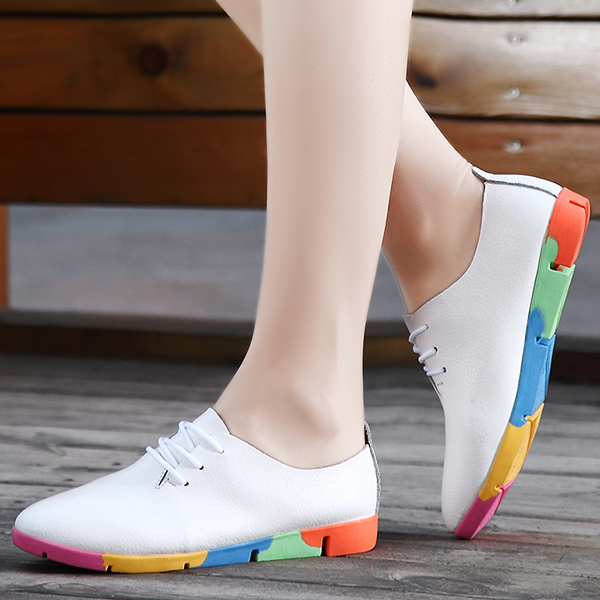 Multicolor Soft Bottom White Leather Shoes