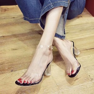 Buckle Closure Transparent High Heel Sandals - Black