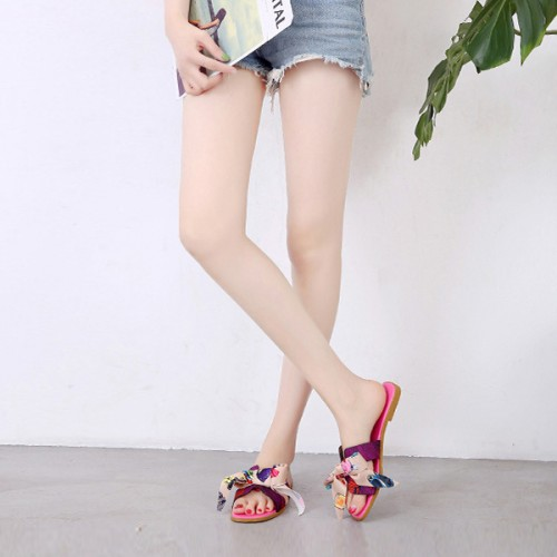 Ribbon Bow Casual Wear Flat Slippers - Pink