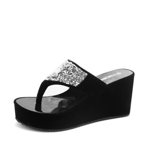 Sparkling Black Thick Bottom Party Sandals