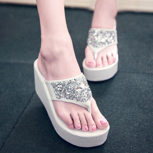 Sparkling White Thick Bottom Party Sandals
