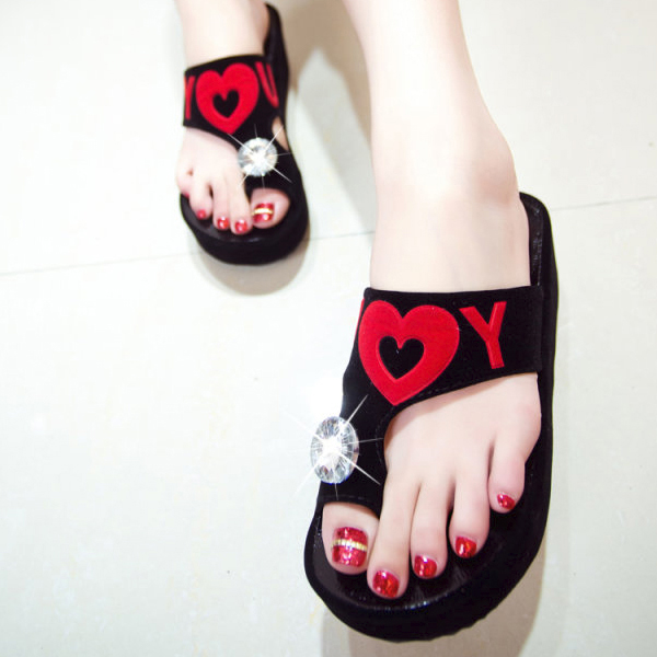 Love Black Thick Bottom Party Sandals