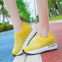 Hollow Striped Canvas Thick Bottom Sneakers - Yellow