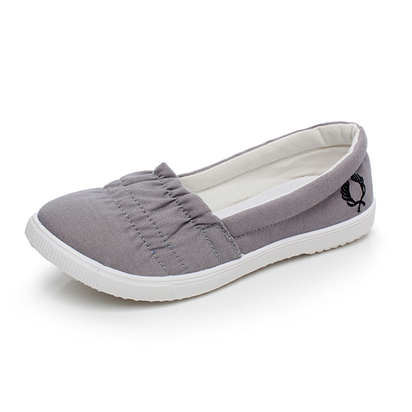 Elastic Stitched Flat Wear Formal Shoes - Grey