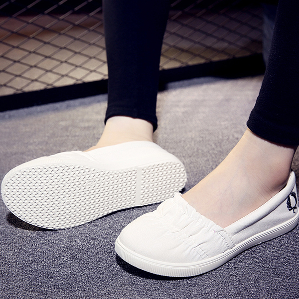 Elastic Stitched Flat Wear Formal Shoes - White