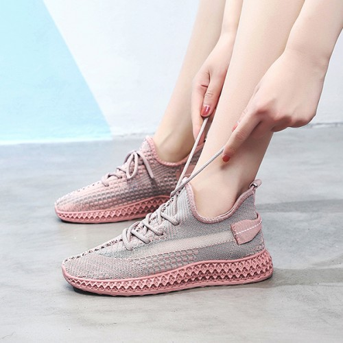 Mesh Canvas Soft Sole Running Shoes - Pink