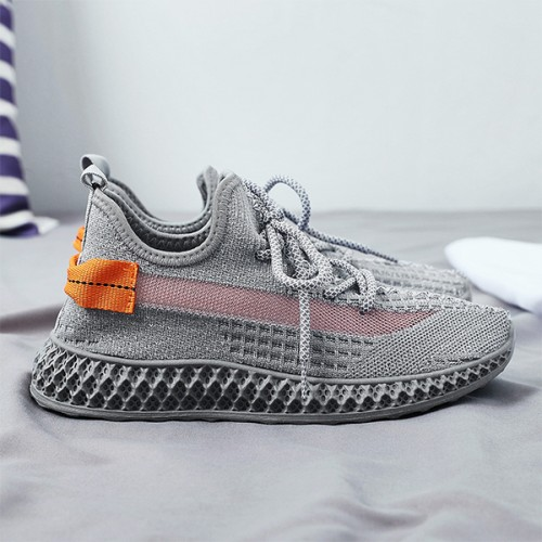 Mesh Canvas Soft Sole Running Shoes - Grey