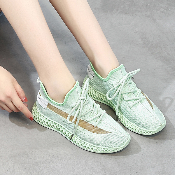 Mesh Canvas Soft Sole Running Shoes - Green