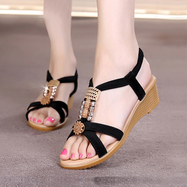 Bohemian Flat Black Beach Party Sandals