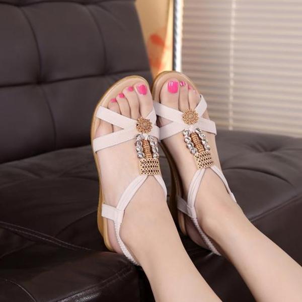 Bohemian Flat White Beach Party Sandals
