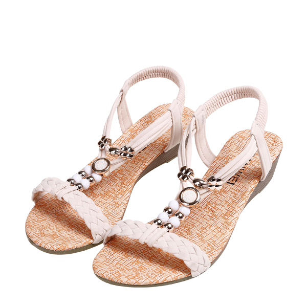 Beads Decorated PU Leather Beige Sandals