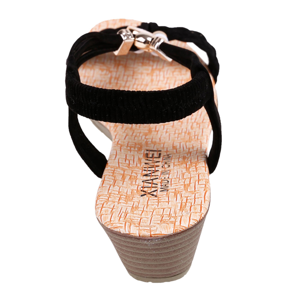 Beads Decorated PU Leather Black Sandals