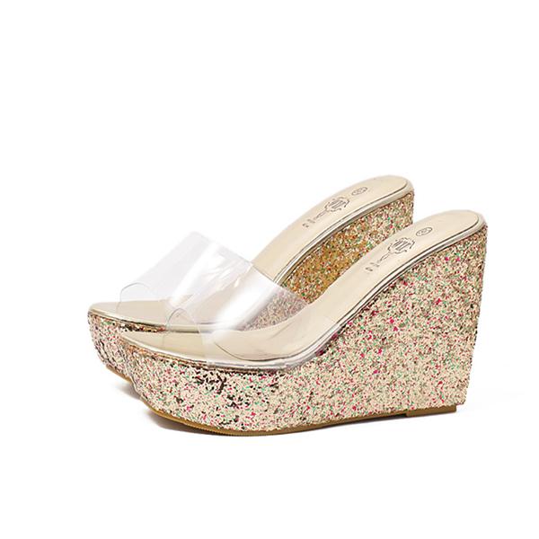 High Heel Golden Glittered Sandals For Women