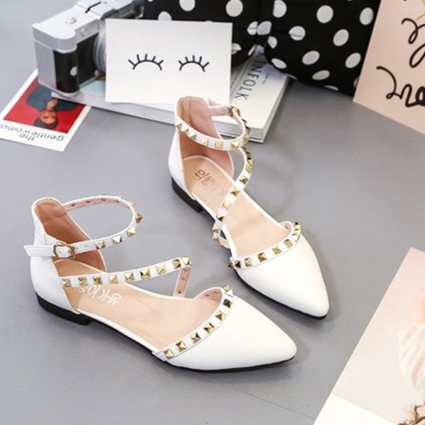 Designers Exclusive Pointed Party Wear White Sandals
