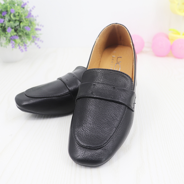 Synthetic Leather Formal Wear Flat Shoes - Black