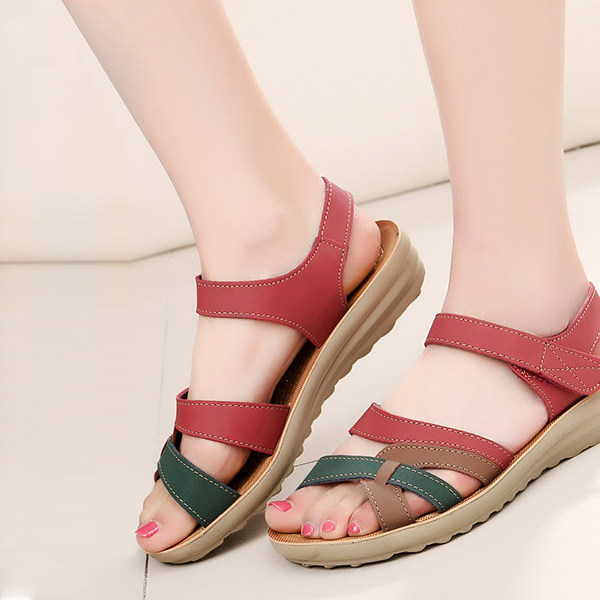 Flat Velcro Closure Strap Sandals - Pink