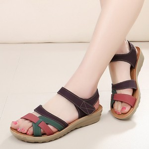 Flat Velcro Closure Strap Sandals - Brown