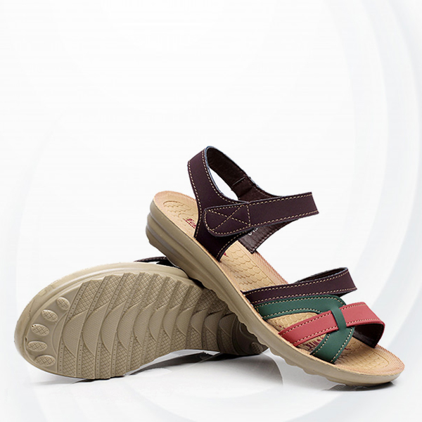 Flat Velcro Closure Strap Sandals - Coffee
