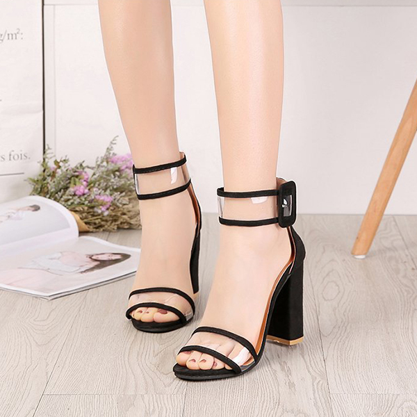 Buckle Closure High Heel Party Wear Sandals - Black