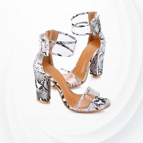 Buckle Closure High Heel Party Wear Sandals - Snake Skin
