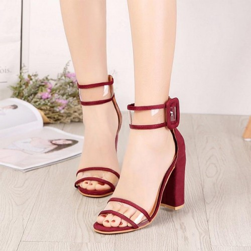 Buckle Closure High Heel Party Wear Sandals - Red