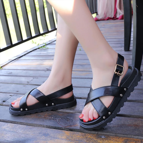 Flat Strappy Comfortable Black Buckle Sandals