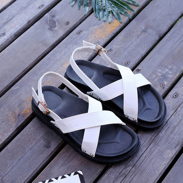 Flat Strappy Comfortable White Buckle Sandals
