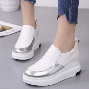 Holographic Contrast Heavy Bottom Sneakers - White
