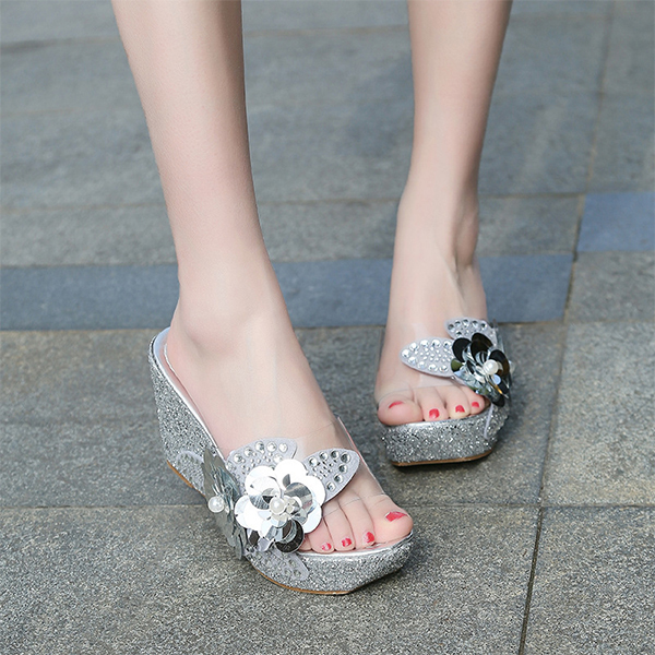Pearl Decorative Glittered Thick Bottom Sandals - Silver