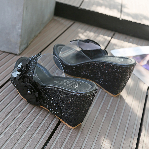 Pearl Decorative Glittered Thick Bottom Sandals - Black