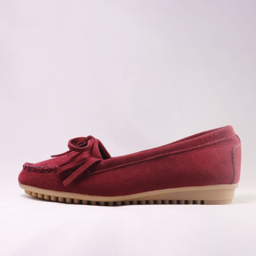 Comfy Burgundy Moccasin Flat Sneakers