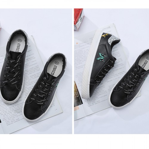 Black Sports Shoes Female Canvas Running Sneakers