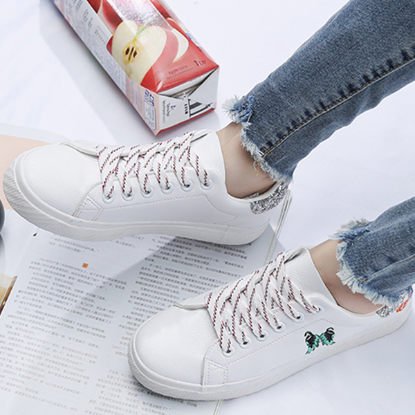 White Sports Shoes Female Canvas Running Sneakers