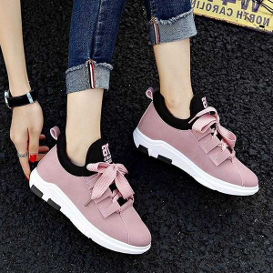 Synthetic Leather Thick Lace Casual Sneakers - Pink