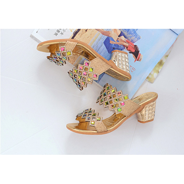 Colorful Shiny Rhinestone Decorated Party Sandals