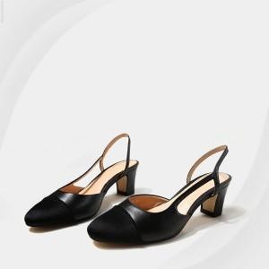 Elastic Closure High Heel Covered Sandals - Black