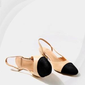 Elastic Closure High Heel Covered Sandals - Khaki