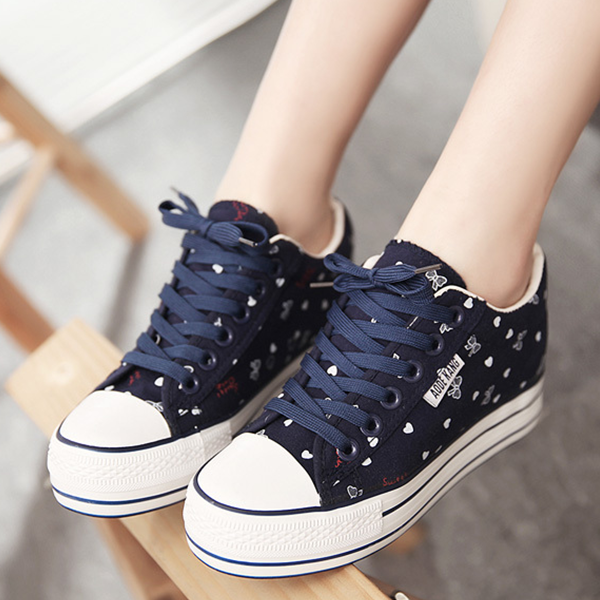 Girls Casual Shoes Summer Flat Canvas Female Shoes Dark Blue