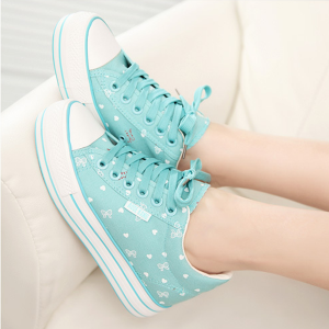 Girls Casual Shoes Summer Flat Canvas Female Shoes Sky Blue
