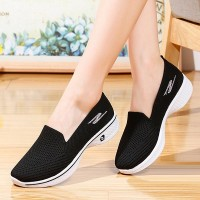 Soft Bottom Fly-woven Mesh Breathable Ladies Shoes - Black