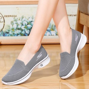 Soft Bottom Fly-woven Mesh Breathable Ladies Shoes - Gray