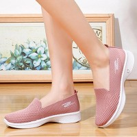 Soft Bottom Fly-woven Mesh Breathable Ladies Shoes - Pink