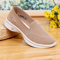 Soft Bottom Fly-woven Mesh Breathable Ladies Shoes - Khaki