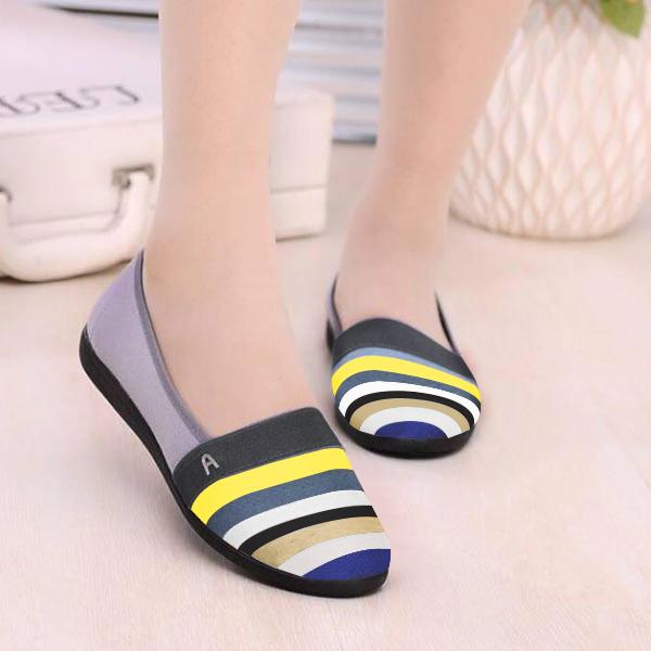 Soft Canvas Rubber Sole Women Casual Flat Shoes - Multi Color